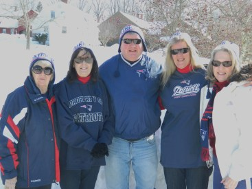 "All for the Patriots! Behind us a mound of snow - of course- outside Sadler's Ordinary in Marlborough, CT where we kicked off Super Bowl Sunday with a ""Go Pats!"" breakfast."