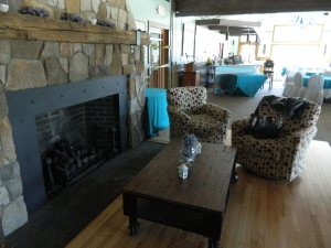 One of two working fireplaces at the Golf CLub at Windham - this one is located in the fine dining area.