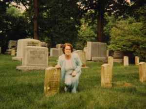 Cecelia Generous Bennett, my mother, shown at the graveside of her brother Oliver Elwyn Gnerous, in Arlington National Cemetery circa the 1990s.