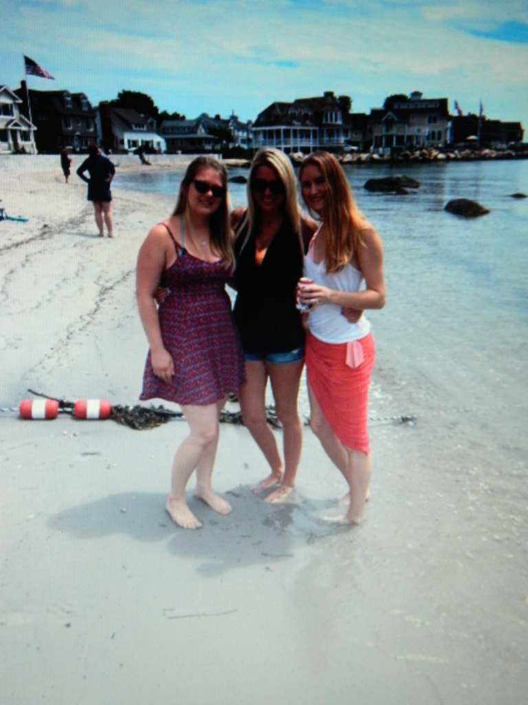 My niece Maryann, center, her cousin April, right, and their friend Christina at Groton Long Point on the Connecticut shore.