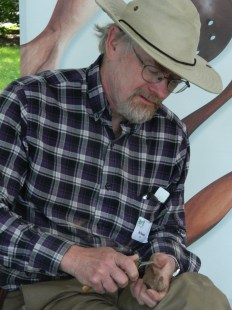 """Woodcarver Jonathan Morel of Massachusetts has been participanting in """"Art in the Park"""" for years."""