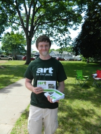 John, an English teacher at Rockville High School in neighboring Vernon, works with Young@Art and volunteered to pass out programs on Sunday.