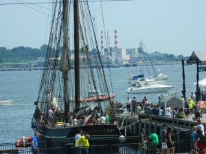 a tall ship docked for tours during SailFest 2015.