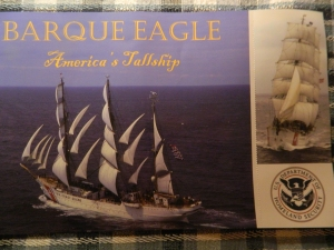Courtesy of the USCG a view of the Barque Eagle in full sail.