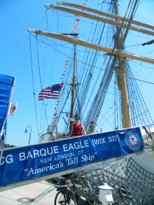 Boarding the USCG Cutter Barque Eagle.