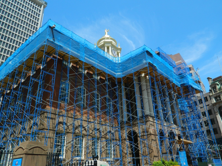 Photo by Jacqueline Bennett Exterior renovations underway at the Old State House in Hartford, Connecticut