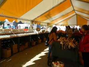 Strolling the outdoor market under a large canopy.