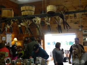 Inside the barn market.