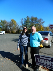 Shown with Mayor don Trinks, 18-year-old Lucy Sansone voted in her first municpal election on Tuesday.
