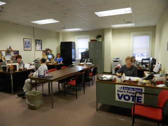 Registrars of Voters Office Windsor, CT hard at work on municipal election day 2015.