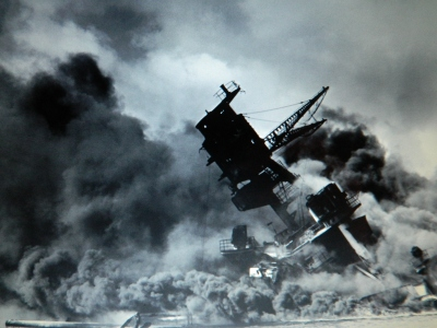 From Wikipedia: USS Arizona shown on December 7, 1941 during the attack on Pearl Harbor by the Imperial Japanese Navy.