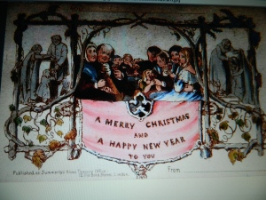 "Firstchristmas card licensed under U.S. public domain ""via Wikimedia Commons""."