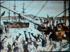 "From HISTORY.com a depiction of the ""Boston Tea Party""."