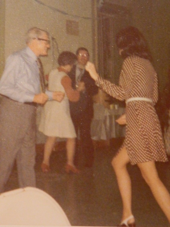Candy in the right forefront dancing with our father - in the background our mother dancing with my brother Fred at a family event.