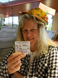 Before the race Melane's displays the ticket for her mother Adelaide who made one wager on Nyquist to win.