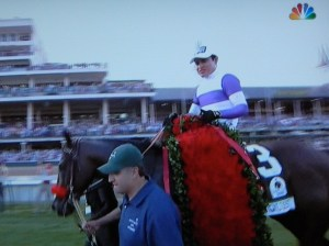 As broadcast on NBC -Nyquist in the Kentucky Derby Winner's Circle wiearing his congratulatory blanket of red roses.