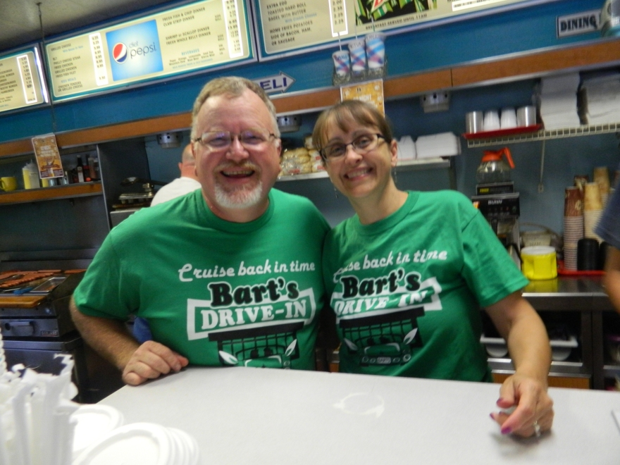 It's true love for Windsor, Ct.'s first couple as  Mayor Don Trinks' wife Barbara joined him behind the counter Friday night.