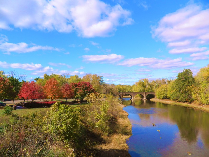 Photo by Jacqueline Bennett Windsor, Connecticut was the state's first English settlement. It is situated at the confluence of the Farmington and Connecticut Rivers. This scenic autumn view of the Farmington River was taken from the Ray Henry Bridge along Palisado Ave.