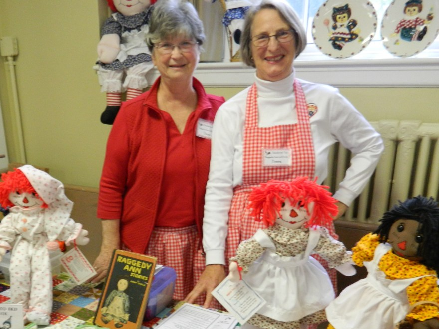 Handmade Raggedy Ann & Andy dolls are part of the Farmhouse Fair tradition - pictured are Dianne Durgan and Penny Gates