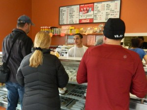 A downtown Manchester bakery was a popular spot on road race day.