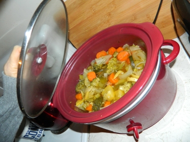 Her daughter Candy's no-salt, crockpot simmered, fresh vegetable soup has been added to Mom's Recipe Box.