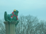 Windham Elks is just west of the Frog Bridge where the famous creatures were still clad in winter scarves.